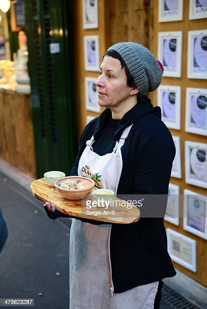 Sampling bread and oil at Borough Market