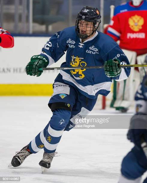 Sampo Ranta of the Finland Nationals skates up ice against the Russian Nationals during the 2018 Under18 Five Nations Tournament game at USA Hockey...