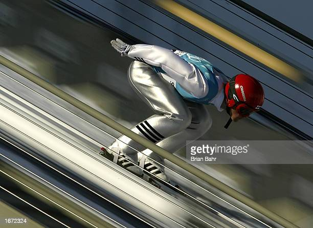 Samppa Lajunen of Finland competes in the sprint K120 nordic combined event during the Salt Lake City Winter Olympic Games at Utah Olympic Park on...