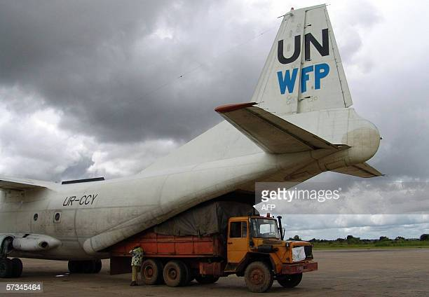 A WFP Antonov plane is being loaded with 14 tonnes of cereals and pulses for an aidrops operation in Sampwe Katanga 15 April 2006 In total WFP plans...