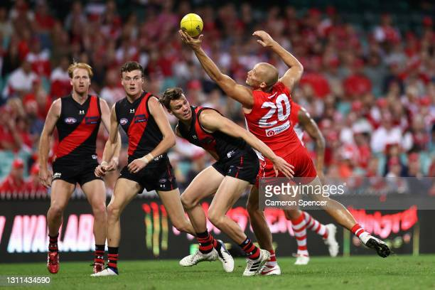 SamReid of the Swans marks during the round four AFL match between the Sydney Swans and the Essendon Bombers at Sydney Cricket Ground on April 08,...