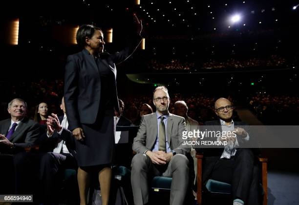 Sam's Club CEO Rosalind Brewer is introduced as former Chairman of the Board and CEO of JC Penney Myron E Ullman former Lego Group CEO Jorgen Vig...