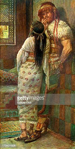 Samson and his wife by J James Tissot Illustration to Book of Judges 1416 'And Samson's wife wept before him and said Thou dost but hate me and...