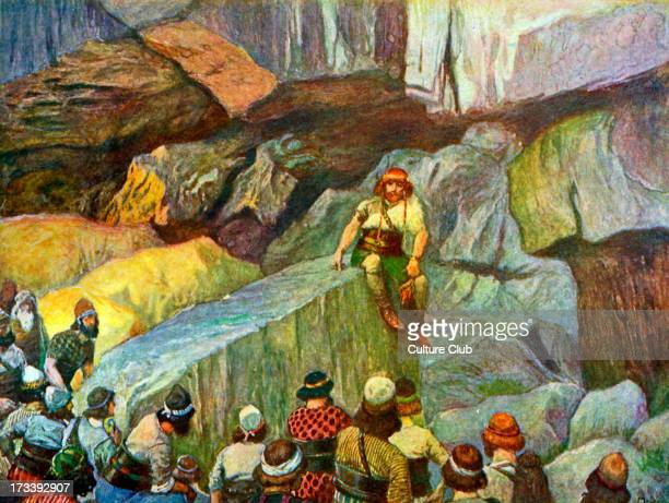Samson in the caves of Etam by J James Tissot Illustration to Book of Judges 1511 'Then three thousand men of Judah went to the top of the rock of...