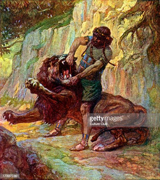 Samson kills a lion by J James Tissot Illustration to Book of Judges 145 'Then went Samson down and his father and his mother to Timnath and came to...