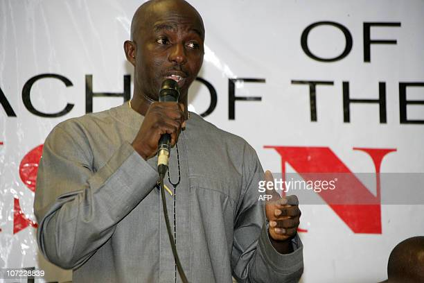 Samson Siasia the new coach of Nigeria's national football team the Super Eagles speaks during the unveilling ceremony on December 1 2010 at the...