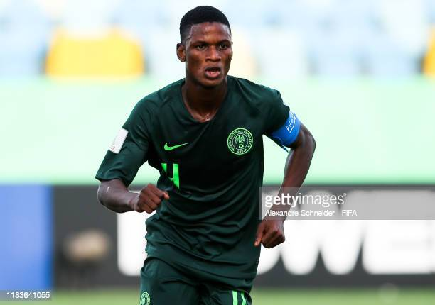 Samson Tijani of Nigeria celebrates after scoring the first goal of his team during the match against Hungary FIFA U17 World Cup Brazil 2019 at...