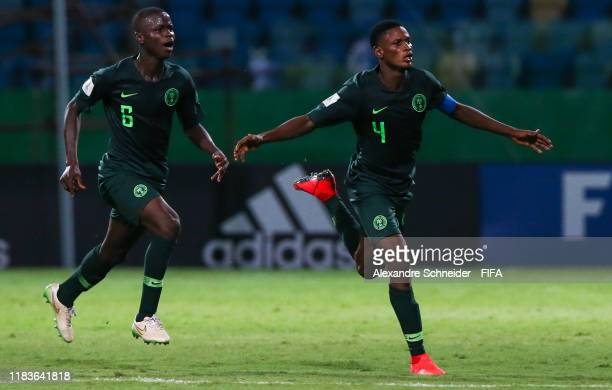 Samson Tijani of Nigeria celebrates after scoring the fourth goal of his team during the match against Hungary FIFA U17 World Cup Brazil 2019 at...