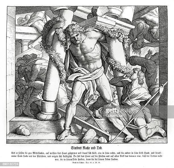 Samson's revenge and death Judges chapter XVI verses 29 30 'And Samson took hold of the two middle pillars upon which the house stood and on which it...