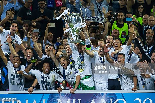 Samstag Champions League Finale in Mailand Saison 2015/2016 Atletico Madrid Real Madrid Jubel Real Madrid