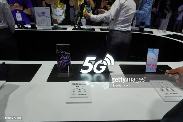 Samsung 5G smartphone Galaxy Note 10 is on display during the launch event at Dongyi International Media Industrial Park on August 21 2019 in Beijing...