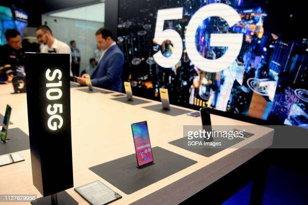 L´HOSPITALET CATALONIA SPAIN Samsung brand stand displays more of its new products at the Mobile World Congress in Barcelona