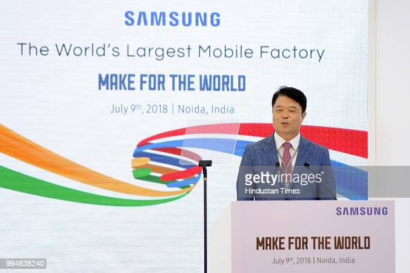 Samsung CEO HC Hong addresses media during the inauguration