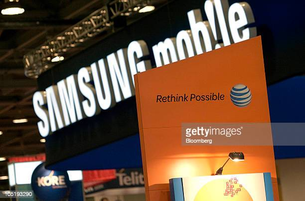 Samsung Electronics Co and AtT Inc logos are displayed during the CTIA Enterprise Applications conference at the Moscone Center in San Francisco...