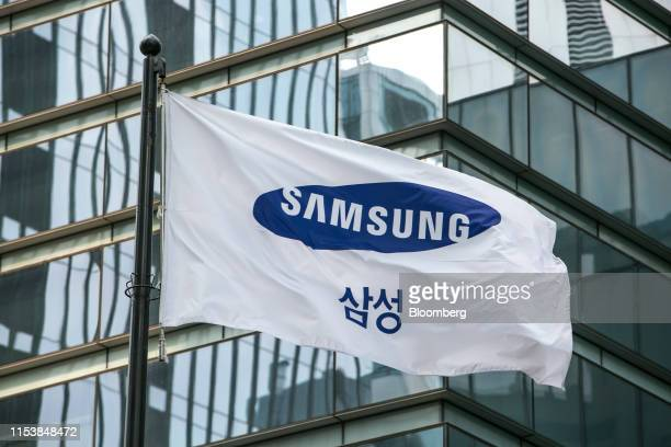 Samsung Electronics Co. Flag flies outside the company's headquarters in Seoul, South Korea, on Friday, July 5, 2019. Samsung's quarterly profit more...