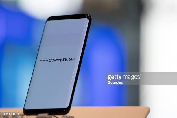 A Samsung Electronics Co Galaxy S8 smartphone is displayed at the company's D'light flagship store in Seoul South Korea on Monday April 3 2017 The...