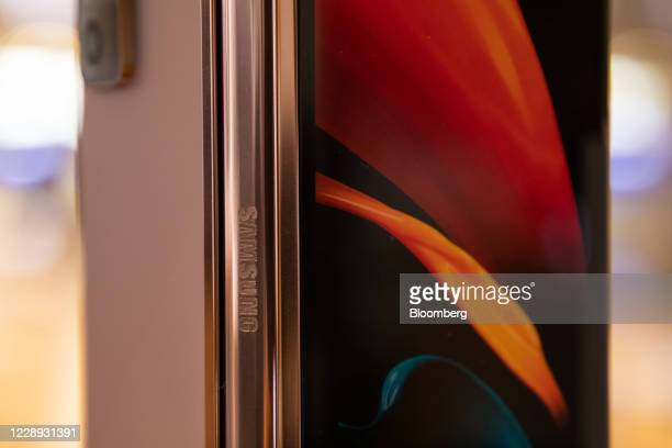Samsung Electronics Co. Galaxy Z Fold2 5G smartphone is displayed at the company's D'light flagship store in Seoul, South Korea, on Tuesday, Oct. 6,...