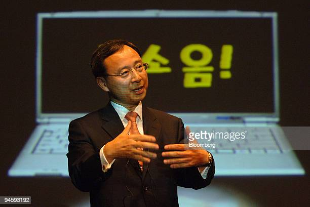 Samsung Electronics Co. Ltd Memory Division President and Chief Executive Officer Hwang Chang-Gyu speaks during a news conference in Seoul, South...