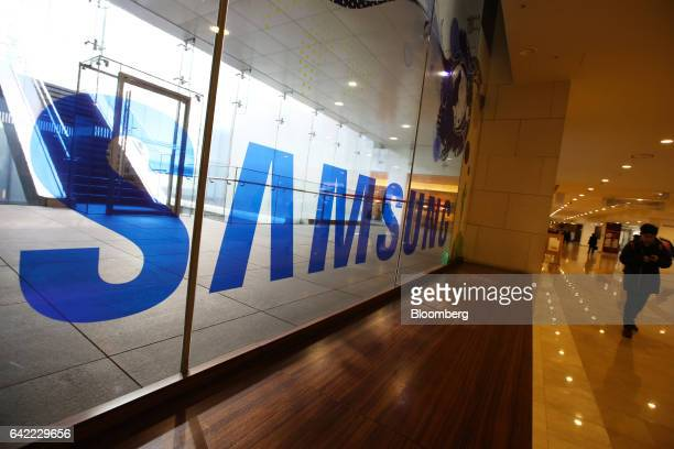 Samsung Electronics Co signage is displayed at the company's Seocho office building in Seoul South Korea on Friday Feb 17 2017 Samsung Group's Jay Y...