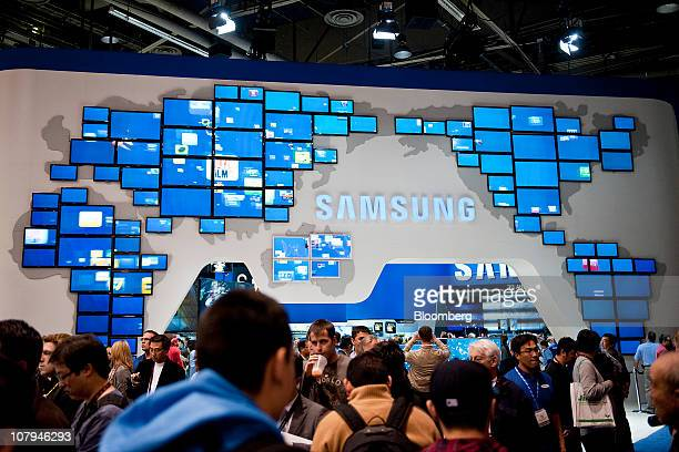 Samsung Electronics Co televisions are arranged to form a map of the world during the 2011 International Consumer Electronics Show in Las Vegas...