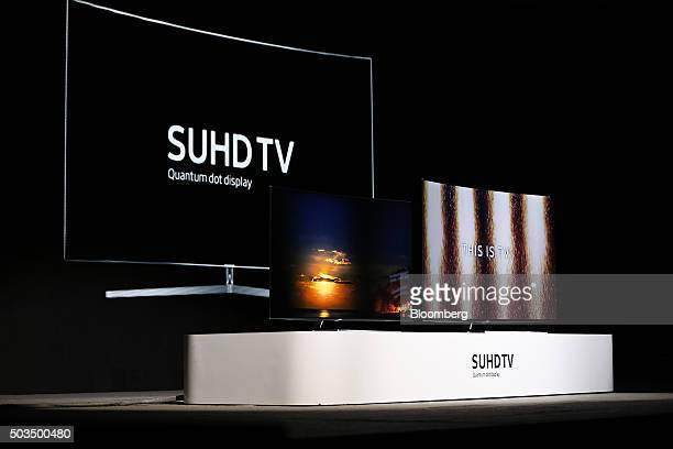Samsung Electronics Co Ultra Slim SUHD Quantum dot display televisions are displayed during an event at the 2016 Consumer Electronics Show in Las...
