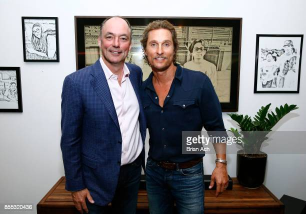 Samsung Electronics North America President CEO Tim Baxter and Founder of just keep livin Foundation Matthew McConaughey at The Frame Gallery by...
