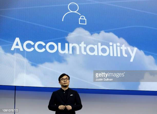 Samsung Electronics President and CEO HS Kim speaks during a Samsung press event for CES 2019 at the Mandalay Bay Convention Center on January 7 2019...