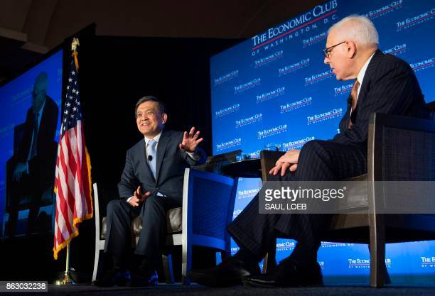 Samsung Electronics Vice Chairman and CEO Kwon OhHyun speaks with David Rubenstein CEO of the Carlyle Group and President of the Economic Club of...