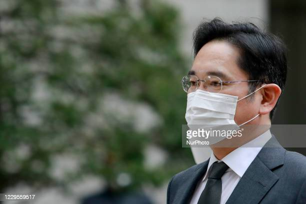 Samsung Electronics Vice Chairman Jay Y. Lee arrives at the Seoul High Court for a trial on November 09, 2020 in Seoul, South Korea. Jay Y. Lee has...