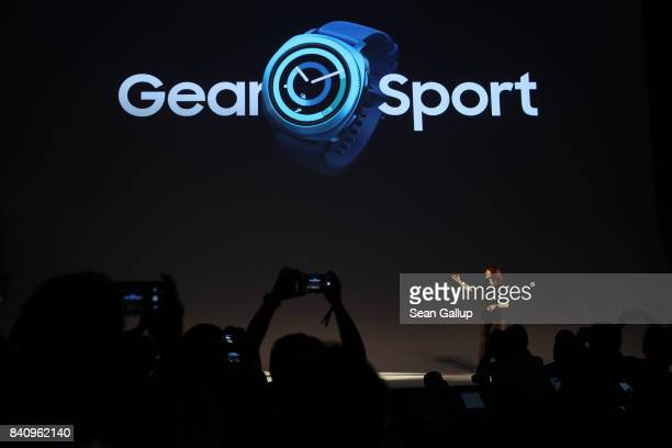 Samsung employee Kate Beaumont presents the company's new Gear Sport watch at the Samsung press conference ahead of the IFA consumer electronics fair...