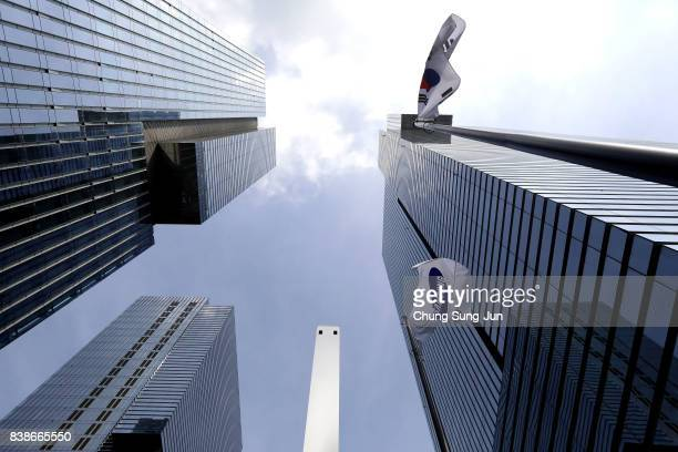 Samsung flag flies outside the Samsung office on August 25 2017 in Seoul South Korea Prosecutors are seeking a 12year jail sentence Lee de facto...