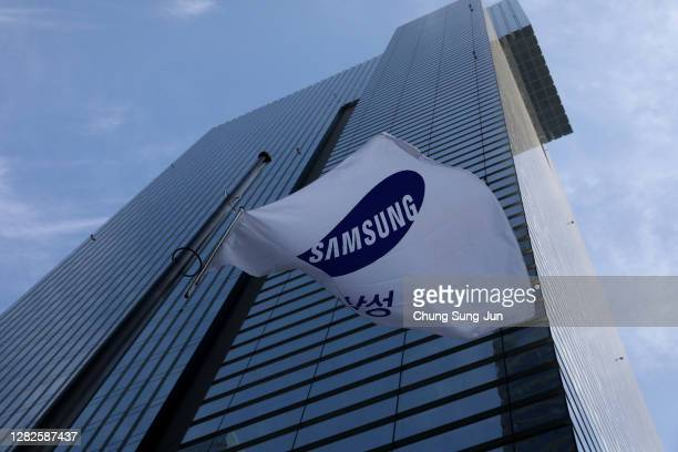 Samsung flag is flown at half-staff outside the Samsung office on October 28, 2020 in Seoul, South Korea. Samsung Electronics chairman Lee Kun-hee,...