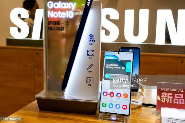 Samsung Galaxy Note 10 5G smartphone displayed in a DPhone store in Shanghai