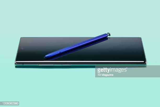 Samsung Galaxy Note 10+ smartphone and S Pen, taken on August 29, 2019.