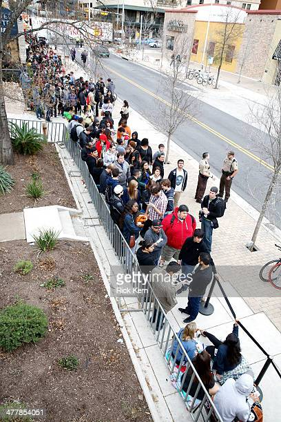 Samsung Galaxy owners line up to get tickets for a special concert on day 4 of The Samsung Galaxy Experience at SXSW 2014 on March 11, 2014 in...