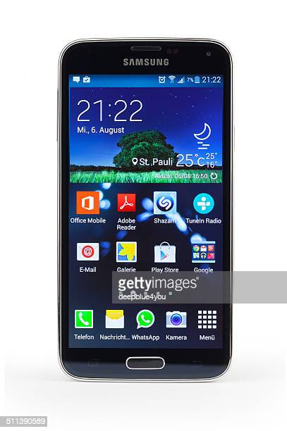 samsung galaxy s5 smartphone, isolated with home screen - samsung galaxy s stock pictures, royalty-free photos & images