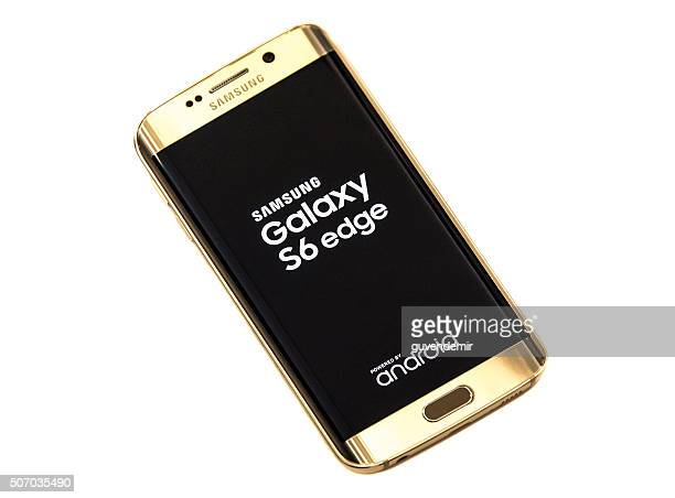 samsung galaxy s6 edge gold - samsung galaxy s stock pictures, royalty-free photos & images