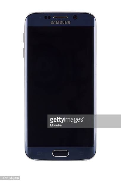 samsung galaxy s6 edge with blank screen and clipping path - samsung galaxy s stock pictures, royalty-free photos & images
