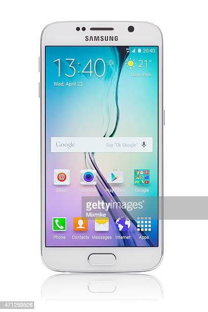 samsung galaxy s6 with clipping path on phone and display - samsung galaxy s stock pictures, royalty-free photos & images