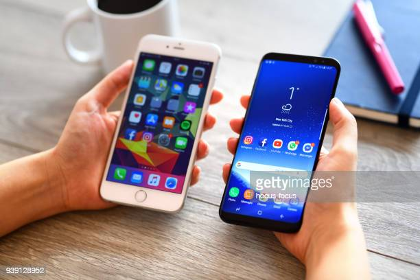 Samsung Galaxy S9 Plus and Apple iPhone 6 Plus smart phones