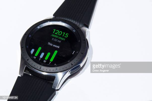 Samsung Galaxy Watch is displayed during a product launch event at at the Barclays Center on August 9 2018 in the Brooklyn borough of New York City...