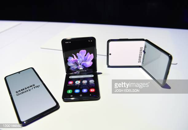 Samsung Galaxy Z Flip phones are seen on display during the Samsung Galaxy Unpacked 2020 event in San Francisco California on February 11 2020...