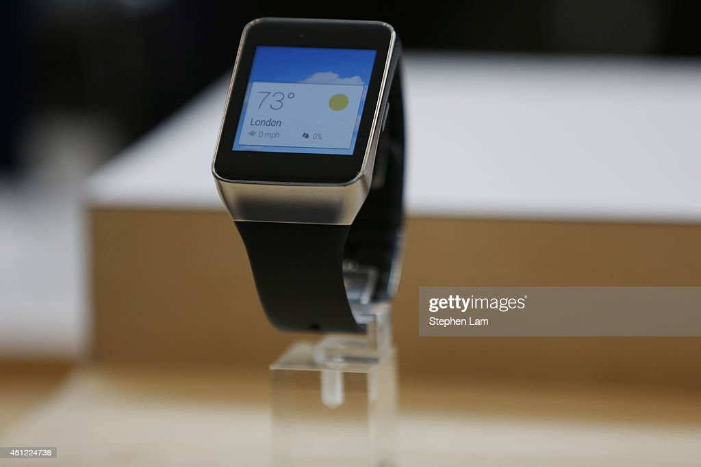 A Samsung Gear Live watch is seen on display during the Google I/O Developers Conference at Moscone Center on June 25, 2014 in San Francisco, California. The seventh annual Google I/O Developers conference is expected to draw thousands through June 26.
