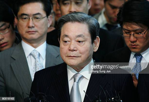 Samsung Group chairman Lee KunHee speaks to the reporters at the office of a special counsel looking into allegations made by a former top legal...
