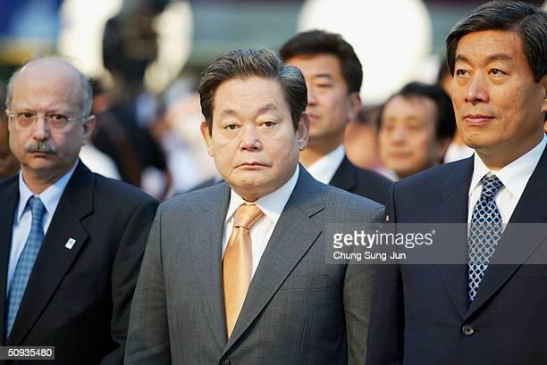 Samsung Group chairman Lee KunHee the Greece ambassador to South Korea Constantin Drakakis and Seoul Vice Mayor Won SeHun look on during day five of...