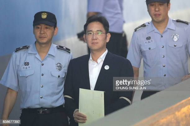 TOPSHOT Samsung Group heir Lee Jaeyong arrives at Seoul Central District Court in Seoul on August 25 2017 The heir to the Samsung business empire...