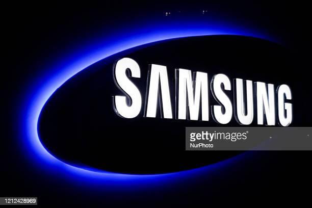 Samsung logo at Samsung Customer Service Center in Krakow , Poland on 6th March, 2020.