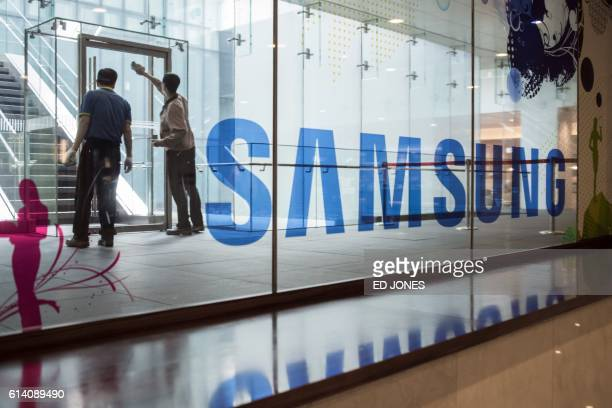 A Samsung logo is displayed in a mall beneath the company's headquarters in the Gangnam district of Seoul on October 12 2016 Samsung Electronics...