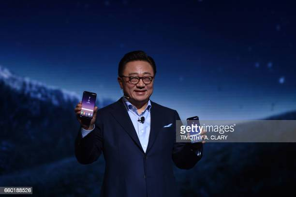 Samsung mobile chief DJ Koh speaks as he unveils the Galaxy S8 and S8 handsets marking them 'a new era of smartphone design' on March 29 2017 in New...