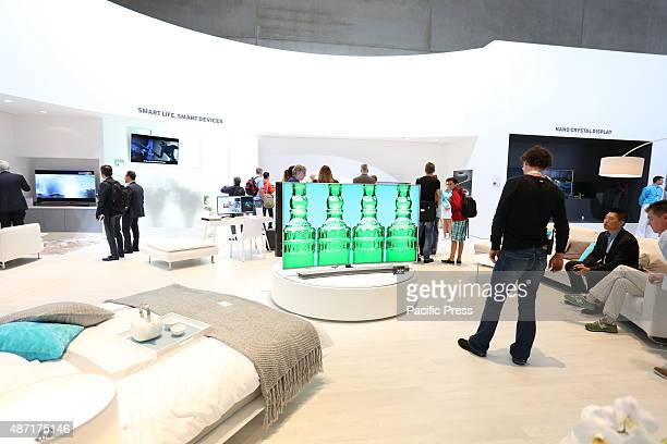Samsung presents the company' s recent smartphones Samsung Galaxy S6 edge and 4K televisions during IFA consumer electronics unlimited at Messe Berlin